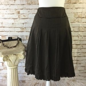 Ann Taylor 4 Brown Pleated Ruffle A-Line Skirt